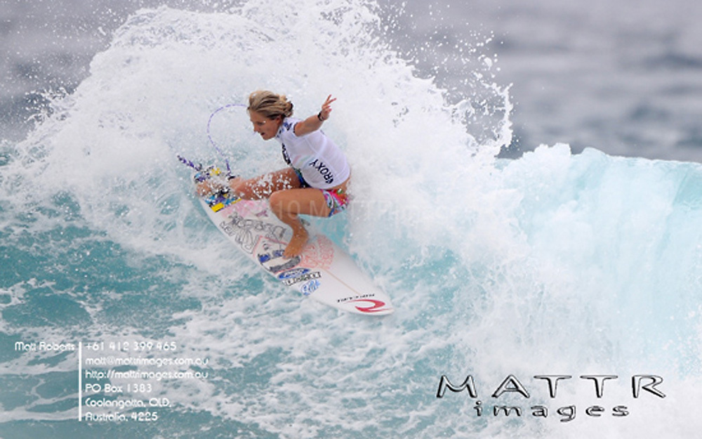 Gold Coast, Australia - March 5: Steph Gilmore 12.00pts defeated Rebecca Woods 5.47pts during the quarter finals of the Roxy Pro Gold Coast 2010 at Snapper Rocks on the Gold Coast, March 5, 2010 Photo by Matt Roberts/MATTRimages.com.au | Image ID: MTR_0792.jpg