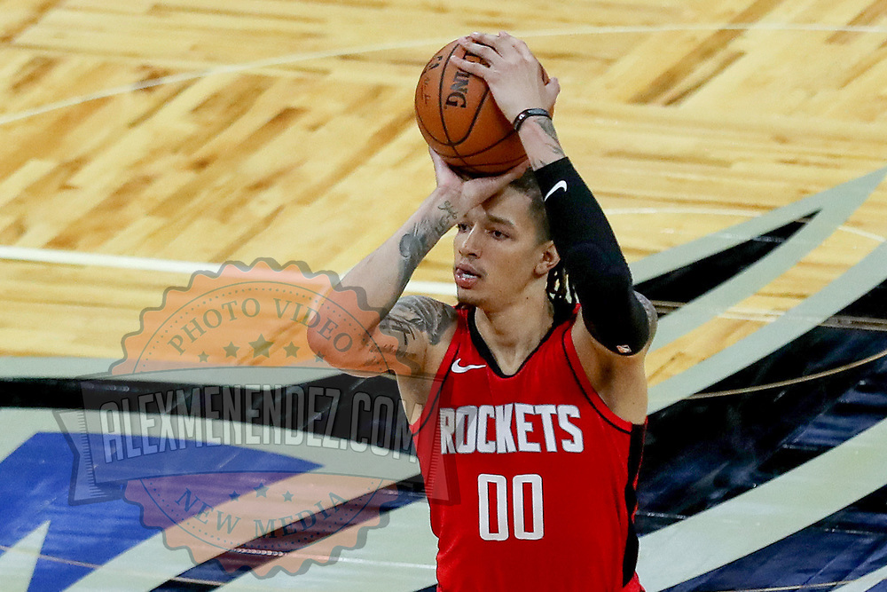 ORLANDO, FL - APRIL 18: D.J. Wilson #00 of the Houston Rockets attempts a shot against the Orlando Magic at Amway Center on April 18, 2021 in Orlando, Florida. NOTE TO USER: User expressly acknowledges and agrees that, by downloading and or using this photograph, User is consenting to the terms and conditions of the Getty Images License Agreement. (Photo by Alex Menendez/Getty Images)*** Local Caption *** D.J. Wilson