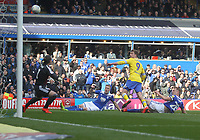 Leeds United's Patrick Bamford sees his shot saved by Birmingham City's Lee Camp<br /> <br /> Photographer Mick Walker/CameraSport<br /> <br /> The EFL Sky Bet Championship - Birmingham City v Leeds United - Saturday 6th April 2019 - St Andrew's - Birmingham<br /> <br /> World Copyright © 2019 CameraSport. All rights reserved. 43 Linden Ave. Countesthorpe. Leicester. England. LE8 5PG - Tel: +44 (0) 116 277 4147 - admin@camerasport.com - www.camerasport.com