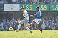 Portsmouth Midfielder, Jamal Lowe (10) with a shot at goal during the EFL Sky Bet League 1 match between Portsmouth and Coventry City at Fratton Park, Portsmouth, England on 22 April 2019.