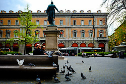 A couple feeding pigeons in the Piazza Minghetti, Bologna, Italy<br /> <br /> (c) Andrew Wilson | Edinburgh Elite media
