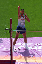 Great Britain's Robbie Grabarz celebrates as he competes in the Men's High Jump heats during day eight of the 2017 IAAF World Championships at the London Stadium.