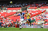 Gavin James of Thatcham Town (10) and Joe Carter of Stockton Town (2) challenge for the header during the FA Vase match between Stockton Town and Thatcham Town at Wembley Stadium, London, England on 20 May 2018. Picture by Stephen Wright