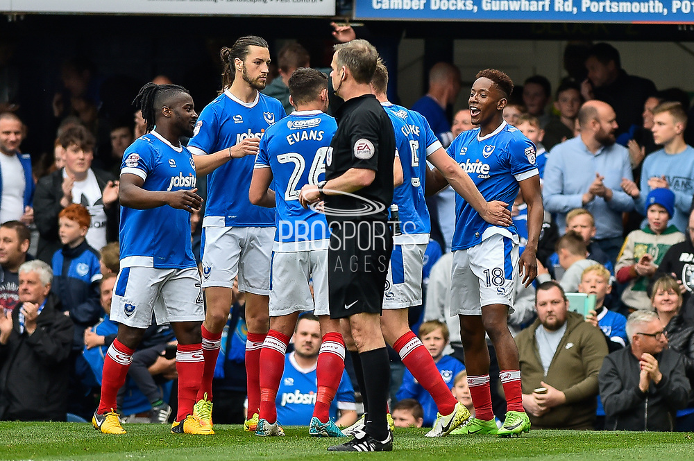 Portsmouth Forward, Jamal Lowe (18) scores a goal to make it 4-0 Portsmouth Players Celebrate  during the EFL Sky Bet League 2 match between Portsmouth and Cheltenham Town at Fratton Park, Portsmouth, England on 6 May 2017. Photo by Adam Rivers.