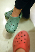 Red and green crocks shoes