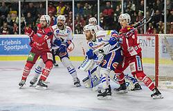 18.11.2018, Stadthalle, Klagenfurt, AUT, EBEL, EC KAC vs EC VSV, 20. Runde, im Bild Siim Liivik (EC KAC, #72), Matt Pelech (EC Panaceo VSV, #21), Dan Bakala (EC Panaceo VSV, #39), Jamie Fraser (EC Panaceo VSV, #44), Marco Richter (EC KAC, #81) // during the Erste Bank Eishockey League 20th round match between EC KAC and EC VSV at the Stadthalle in Klagenfurt, Austria on 2018/11/18. EXPA Pictures © 2018, PhotoCredit: EXPA/ Mag. Gert Steinthaler