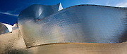 Architect Frank Gehry's Guggenheim Museum futuristic architectural design constructed in titanium at Bilbao, Basque country, Spain