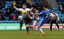 Danny Lloyd of Peterborough United scores his sides opening goal of the game - Mandatory by-line: Joe Dent/JMP - 10/02/2018 - FOOTBALL - MEMS Priestfield Stadium - Gillingham, England - Gillingham v Peterborough United - Sky Bet League One