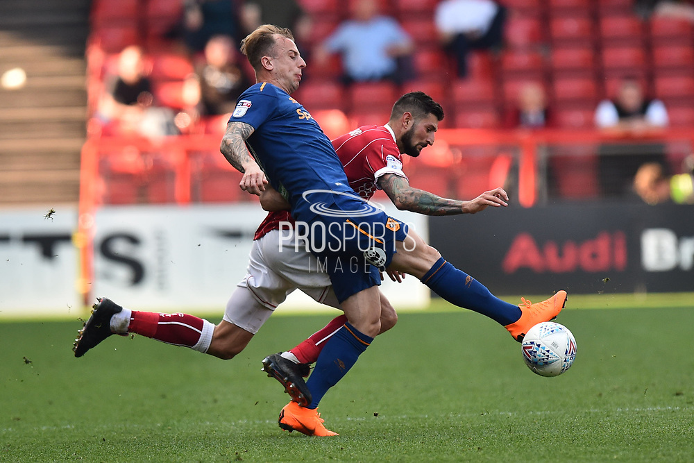 Kamil Grosicki (7) of Hull City battles for possession with Eros Pisano (2) of Bristol City during the EFL Sky Bet Championship match between Bristol City and Hull City at Ashton Gate, Bristol, England on 21 April 2018. Picture by Graham Hunt.