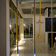 Old Truman Brewery, London, England, UK. 22th September 2017. Aritco showcases one of an indoor/outdoor lighting swings at London Design Fair 2017.