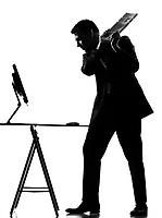 silhouette caucasian business man  computing expressing behavior full length on studio isolated white background
