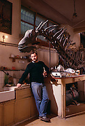 """Discoverer of Amargasaurus, Guillermo Rougier, a """"jibbed"""" sauropod from the Argentina at the Museo de Ciencias Naturales de Buenos Aires."""