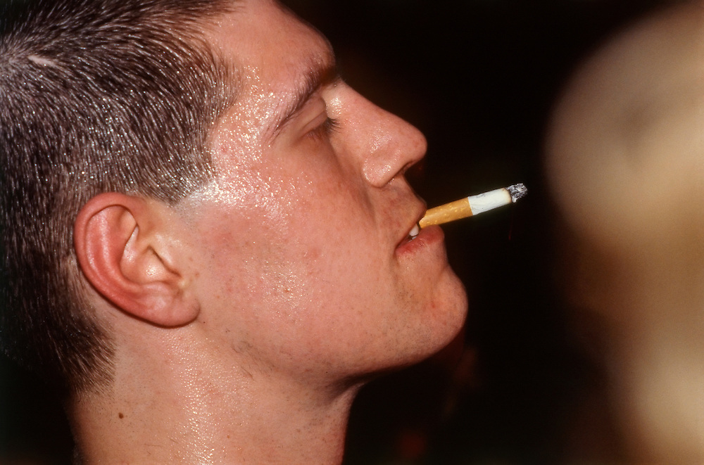 A young man in the audience at a Redskins concert at the Electric Ballroom in London,England 1984.