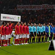 Galatasaray's and Istanbul Basaksehir's players during their Turkish Super League soccer match Galatasaray between Istanbul Basaksehir at the AliSamiYen Spor Kompleksi TT Arena at Seyrantepe in Istanbul Turkey on Saturday, 14 March 2015. Photo by Aykut AKICI/TURKPIX