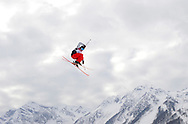 United States' Julia Krass competes during the ladies' ski slopestyle qualification at the Sochi 2014 Winter Olympics on February 11, 2014 in Krasnaya Polyana, Russia.  (UPI)