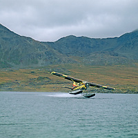 A Beaver float plane takes off from a remote lake in the Logan Mountains.