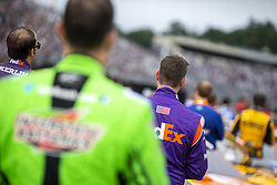 July 22, 2018 - Loudon, New Hampshire, United States of America - Denny Hamlin (11) gets ready for the Foxwoods Resort Casino 301 at New Hampshire Motor Speedway in Loudon, New Hampshire. (Credit Image: © Stephen A. Arce/ASP via ZUMA Wire)
