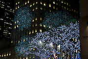 Light show projcted on the buildings around Rockefeller Center.