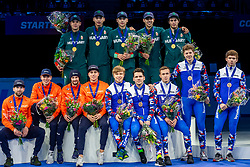 13-01-2019 NED: ISU European Short Track Championships 2019 day 3, Dordrecht<br /> Team Hungary (top), team Russia (right) and team Netherlands pose in the Men's Relay medal ceremony during the ISU European Short Track Speed Skating Championships