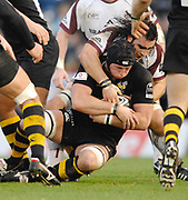 Wycombe. GREAT BRITAIN, Tigers, Luke ABRAHAMS, tackles George SKIVINGTON, during the, Guinness Premiership game between, London Wasps and Leicester Tigers on 25/11/2006, played at  Adams<br />  Park,<br />  ENGLAND. Photo, Peter Spurrier/Intersport-images]
