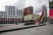 The Schouwburgplein designed by architect Adriaan Geuze modern city square on the roof of a car park, central Rotterdam, Netherlands