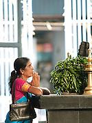 Woman praying in a Buddhist temple in Colombo, Sri Lanka