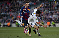 May 12, 2019 - Barcelona, Spain - Leo Messi and Cabrera during the match between FC Barcelona angd Getafe, corresponding to the round 37 of the Liga Santander, played at the Camp Nou Stadium, on 12th May 2019, in Barcelona, Spain. (Credit Image: © Joan Valls/NurPhoto via ZUMA Press)