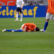 NLD/Amsterdam/20061115 - Voetbal, Nederland - Engeland, Khalid Boulahrouz geblesseerd op de grond