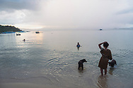 Port Barton, Palawan, Philippines - July 8, 2019:  Late afternoon scene at the beach in Port Barton.