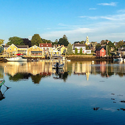 """Skiff in Portsmouth Harbor. South End, Portsmouth, New Hampshire. iPhone panorama - suitable for print reproduction up to 8"""" x 20""""."""