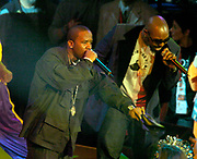 Big Boi (left) and Sleepy Brown of Outkast perform during the NBA All-Star Game pregame show on Sunday, Feb. 15, 2004 in Los Angeles.