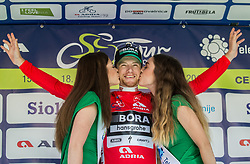 Winner in sprint classification Sam Bennett (ITA) of Bora - Hansgrohe celebrates in red jersey at trophy ceremony after the last Stage 4 of 24th Tour of Slovenia 2017 / Tour de Slovenie from Rogaska Slatina to Novo mesto (158,2 km) cycling race on June 18, 2017 in Slovenia. Photo by Vid Ponikvar / Sportida
