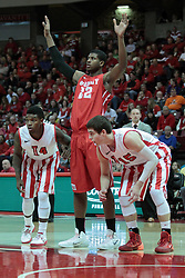 15 February 2014:  Bobby Hunter, Xzavier Taylor, and Nick Zeisloft line up for a free throw during an NCAA Missouri Valley Conference (MVC) mens basketball game between the Bradley Braves and the Illinois State Redbirds  in Redbird Arena, Normal IL.