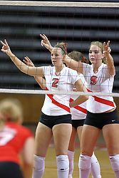 18 AUG 2007: Kristin Dzuibla and Katie Culbertson await a serve from the red team. The Illinois State Redbirds, picked for 5th in the pre-season Missouri Valley Conference coaches poll, prepare for the beginning of the season during the annual Red/White inter-squad scrimmage at Redbird Arena in Normal Illinois.