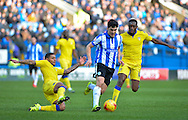 Sheffield Wednesday Forward Fernando Forestieri runs at the leeds defence during the Sky Bet Championship match between Sheffield Wednesday and Leeds United at Hillsborough, Sheffield, England on 16 January 2016. Photo by Adam Rivers.
