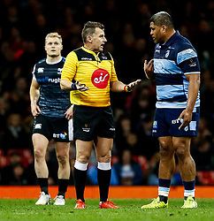 Referee Nigel Owens with Nick Williams of Cardiff Blues <br /> <br /> Photographer Simon King/Replay Images<br /> <br /> Guinness PRO14 Round 21 - Cardiff Blues v Ospreys - Saturday 27th April 2019 - Principality Stadium - Cardiff<br /> <br /> World Copyright © Replay Images . All rights reserved. info@replayimages.co.uk - http://replayimages.co.uk