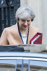 Downing Street, London, March 15th 2017. British Prime Minister Theresa May leaves 10 Downing Street to attend Prime Minister's Question Time in the House of Commons.