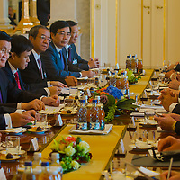 Truong Tan Sang (2nd L) president of Vietnam and his Hungarian counterpart Janos Ader (2nd R) talk during their meeting in Budapest, Hungary on September 16, 2013. ATTILA VOLGYI<br /> Truong Tan Sang and his wife are on a three day visit in Hungary.