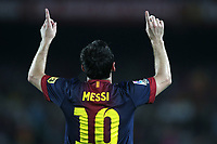 FOOTBALL - SPANISH SUPER CUP 2012 - 1ST LEG - FC BARCELONA v REAL MADRID - 23/08/2012 - PHOTO MANUEL BLONDEAU / AOP.Press / DPPI - LIONEL MESSI CELEBRATES