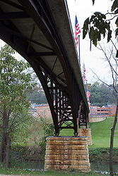 October 2009: scenic view of  bridge, railroad and Galena River in Galena Illinois. Sights to see in and around Galena Illinois.