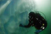 Diver diving an iceberg in Pléneau Bay