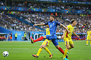France Forward Olivier Giroud shoots at goal during the Group A Euro 2016 match between France and Romania at the Stade de France, Saint-Denis, Paris, France on 10 June 2016. Photo by Phil Duncan.