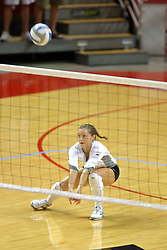 25 AUG 2007: Libero Brittany Malicoat grabs a dig. Illinois State defeated Valparaiso in 3 straight games to take the match with a shut out. The Valparaiso Crusaders visited the Illinois State Redbirds on Doug Collins Court in Redbird Arena on the campus of Illinois State University in Normal Illinois.