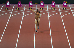 London, 2017 August 05. A streaker with 'Peace + Love' written on his chest runs down the track at the IAAF World Championships London 2017. © Paul Davey.