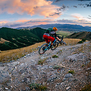 Andrew Whiteford rides into the sunset near Jackson, Wyoming.