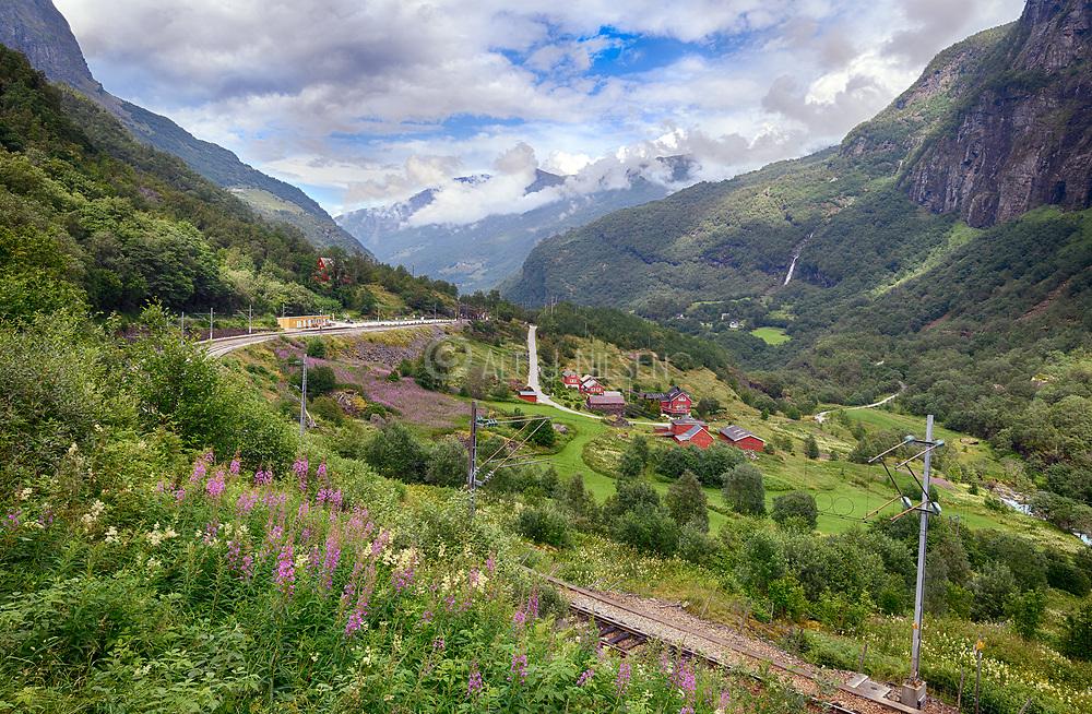 Flåm railway track running between Flåm and Myrdal in Aurland, Vestland county, Norway in July.