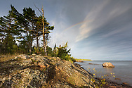 A rainbow forms over the Lake Superior shore in the Keweenaw Peninsula