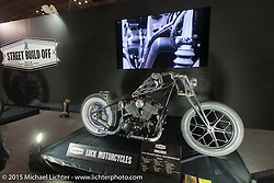 Masayuki Sugihara's Luck Motorcycles  entry in the Harley-Davidson Street 750 Build Off at the Mooneyes Yokohama Hot Rod & Custom Show. Yokohama, Japan. December 6, 2015.  Photography ©2015 Michael Lichter.