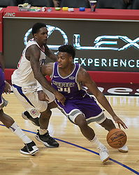 October 12, 2017 - Los Angeles, California, U.S - Buddy Hield #24 of the Sacramento Kings dribbles past defender during their preseason game against the Los Angeles Clippers on Thursday October 12, 2017 at the Galen Center in USC in Los Angeles, California. Clippers defeat Kings, 104-87. (Credit Image: © Prensa Internacional via ZUMA Wire)