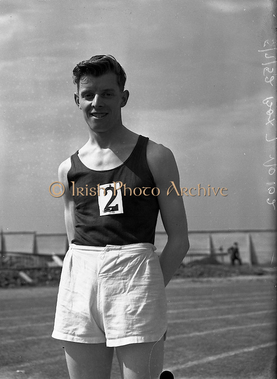 05/07/1952<br /> 07/05/1952<br /> 05 July 1952<br /> N.A.C.A. (National Athletic and Cycling Association) Championship of Ireland Finals at Iveagh Grounds, Crumlin, Dublin. J. O'Gorman (Clonmel A.C.) winner of 60yd Dash.